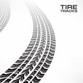 Tire Tracks On White