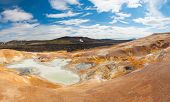 Leirhnjukur is the hot geothermal pool at Krafla area, Iceland. The area around the lake is multicol