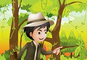 picture of hollow log  - Illustraion of a gentleman in the forest - JPG