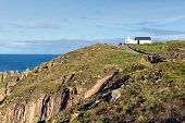 First and last house Land`s End Cornwall UK the most westerly point of England Penwith peninsula