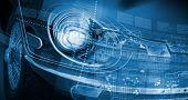 Close up image of car headlight. Innovation concept