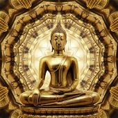 Thai Golden Buddha On Oriental Gold Ornament Texture Background.