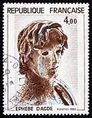 Postage Stamp France 1982 Young Greek Soldier, Hellenic Sculpture