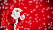 Santa Claus Pointing In Blank Red With Snow