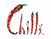 Funny Red Chilli Pepper Pods Lettering