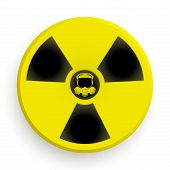 stock photo of radium  - Icon radiation black and yellow symbol with gas mask - JPG