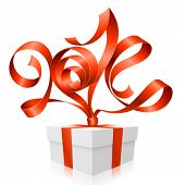 Vector red ribbon in the shape of 2014 and gift box. Symbol of New Year