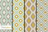 stock photo of curtain  - Retro ikat tribal seamless patterns - JPG