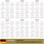 Calendar 2014-2019