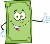 Smiling Dollar Cartoon Character Giving A Thumb Up