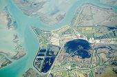 image of promontory  - Aerial view of the Venice lagoon with the promontory of Lio Piccolo sticking out into the salt marshes, Italy.