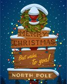 picture of north-pole  - Snow covered wooden sign - JPG