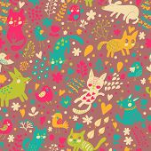 Bright seamless pattern with birds, cats and cute dogs in vector. Seamless pattern can be used for wallpapers, pattern fills, web backgrounds,surface textures. Gorgeous childish wallpaper