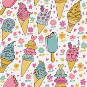 Tasty seamless pattern made of cute ice cream in pastel colors in vector. Seamless pattern can be used for wallpapers, pattern fills, web page backgrounds, surface textures.