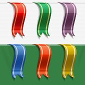 Set of bookmark decoration ribbons