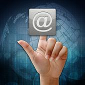 In Press Email Address Icon On Global Background