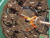 Flexible Metal Hose Braiding Machine Taken Closeup.