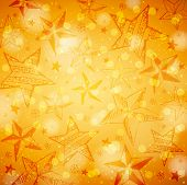 Golden Brightness Background With Christmas Stars And Snowflakes