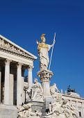 Statue Athena Parliament in Vienna, Austria