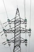 High voltage tower at sky