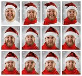 Portrait Of Santa Claus With Different Emotions