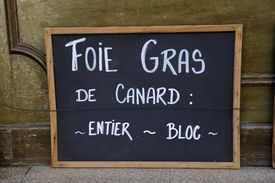 image of canard  - Adboard for foie gras de canard in front of shop in France - JPG