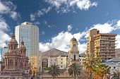stock photo of skyscrapers  - Santiago de Chile downtown modern skyscrapers mixed with historic buildings Chile - JPG