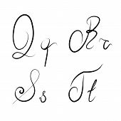 Hand Drawn Calligraphic Letters Q,r,s,t Isolated