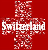 red background whit white cross make with swiss icons (chocolate, alp, mountain,watch, chesse, money