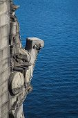stock photo of gargoyles  - Close up view of a Boston bridge gargoyle