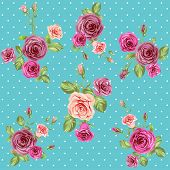Vintage roses pattern. Seamless floral retro background