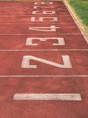 stock photo of 8-track  - Start point of race track with number 1 - JPG