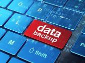 Data concept: Data Backup on computer keyboard background