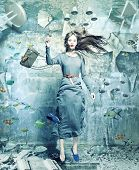 stock photo of flood  - a pretty woman underwater in the flooded interior - JPG