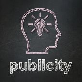 Advertising concept: Head With Lightbulb and Publicity