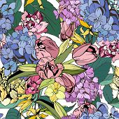 Bright flowers seamless, botanical illustration