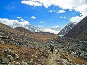 Beautiful Mountain Lake View Of Everest Region, Nepal.