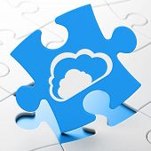 Cloud networking concept: Cloud on puzzle background