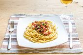 stock photo of carbonara  - Pasta Carbonara with bacon and ground parmesan