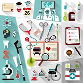 Set of medical flat design concept icons for web