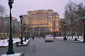 MOSCOW, RUSSIA - FEBRUARY 4, 2014: View to the reconstructed hotel