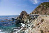 stock photo of bixby  - Bixby Creek Arch Bridge near Big Sur in California USA - JPG