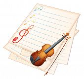 Illustration of an empty paper with a violin and musical notes on a white background