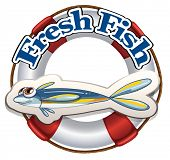 Illustration of a fresh fish label on a white background
