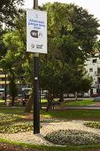 Wifi Zone Sign in Kennedy Park in Lima, Peru