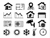 Real estate icons set 06 Smart house