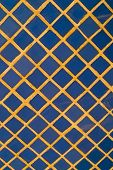 image of tile cladding  - Full frame take of blue ceremic mosaic tiles - JPG