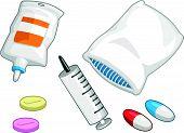 Medical Set - Syringe, Medicine Pill, Capsule, Iv Drip