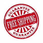 stock photo of shipping receiving  - illustration of grunge rubber stamp with the text free shipping written inside - JPG