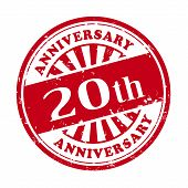 20Th Anniversary Grunge Rubber Stamp